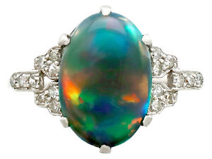 Antique 1920s 2.05 ct Black Opal and 0.22 ct Diamond Platinum Dress Ring