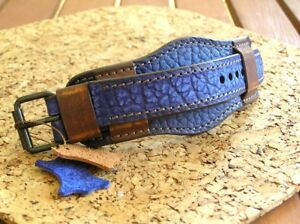 22mm MILITARY WATCH BAND GENUINE LEATHER CUFF BRACELET STRAP BLUE UHRENARMBAND