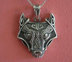 925 Sterling Silver Celtic Wolf Charm Necklace - Irish Celtic Viking Necklace