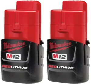 48-11-2411 MILWAUKEE Cordless M12 Lithium-Ion Compact Battery Pack 1.5Ah(2-Pack)
