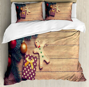 Gingerbread Man Duvet Cover Set with Pillow Shams Cookie Present Print