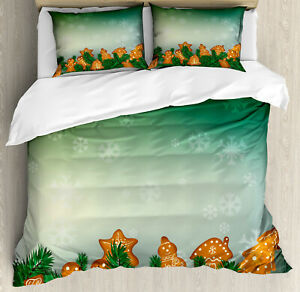 Gingerbread Man Duvet Cover Set with Pillow Shams Xmas Cookies Print
