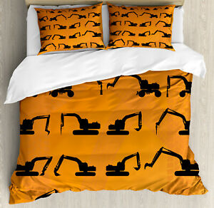 Construction Duvet Cover Set with Pillow Shams Excavator Track Print