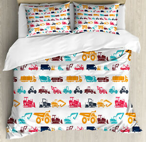 Construction Duvet Cover Set with Pillow Shams Colorful Trucks Print