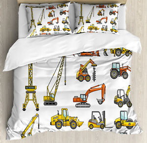 Construction Duvet Cover Set with Pillow Shams Cartoon Machinery Print