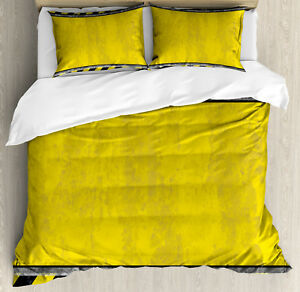 Construction Duvet Cover Set with Pillow Shams Rusty Working Site Print