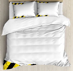 Construction Duvet Cover Set with Pillow Shams Ripped Paper Alert Print
