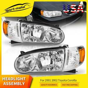 Headlights Assembly for 2001-2002 Toyota Corolla w/Corner Signal Headlamps PAIR