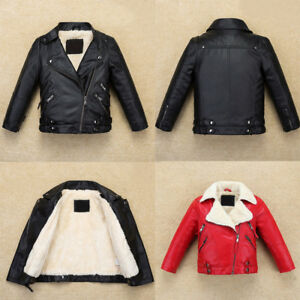 Cool Kids Boys Leather Jacket Warm Fllece Coat Biker High-Quality Fur Outerwear
