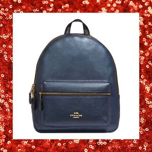 COACH Metallic Pebble Leather Medium Charlie Backpack Purse F39196 BLUE DENIM