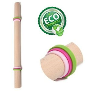 New French Rolling Pin Wood Adjustable Rings for Baking Dough Pizza Pie Cookies