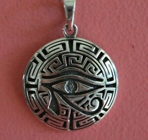 925 Sterling Silver Circle Eye of Ra Protection Charm Necklace