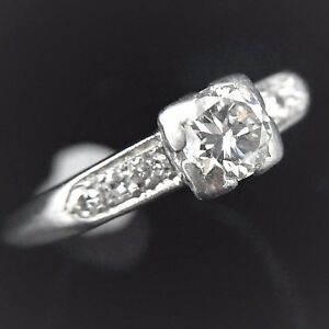 Vintage Diamond Platinum Engagement Ring Transitional Cut Deco Promise c1930s