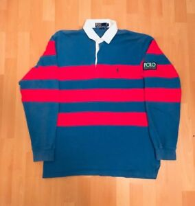 Vintage Ralph Lauren Polo Sport Rugby Shirt Patch Stadium 1992 polo hitech