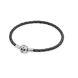 Pandora Single Black Leather Bracelet Size 6.9