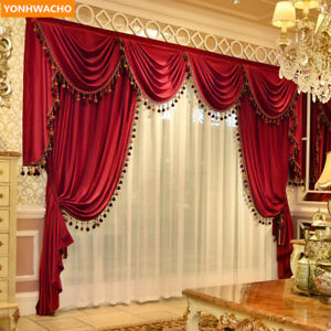 luxury modern red thick France velvet cloth blackout curtain tulle valance N973