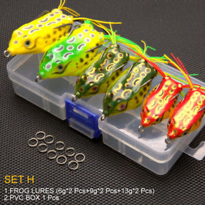 6Pcs Fishing Lures Tackle Large Frog Topwater Crankbait Hooks Bass Bait With Box
