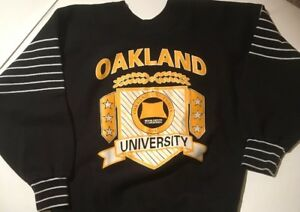 Rare Vtg Oakland University Crewneck Sweatshirt Black And Gold Medium