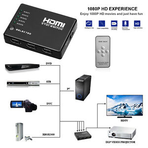 5 Port HDMI Switch Switcher Splitter 1080P Full HD for HDTV DVD PS3 + IR Remote