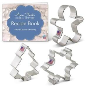 ChristmasHoliday Cookie Set Recipe Book Cutter Snowflake Gingerbread Man Tree