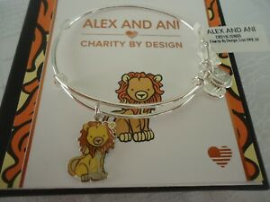 ALEX and ANI LION Shiny Silver Bangle Charity By Design New W Tag Card amp; Box $29.99