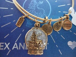 Alex and Ani SNOW GLOBE 2018 Rafaelian Gold Charm Bangle New W Tag Card amp; Box $20.99