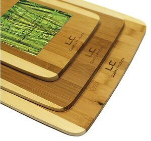 3 Piece Premium Organic Bamboo Cutting Board Set by LC Quality Products. $10.99