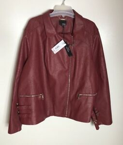 a n a A New Approach Womens Faux Leather Jacket Plus Size 3X Side Buckle