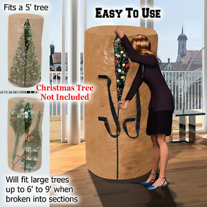 Christmas Tree Storage Bag Deluxe Heavy Duty Holiday Up to 9 Ft. Trees w Handles $14.35