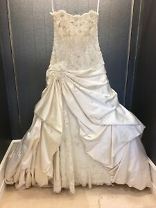 Strapless Lace & Satin Unique Beaded Cupcake Skirt Wedding Gown Sz 10