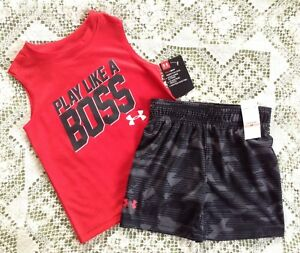 NWT Retail $36 Under Armour Toddler Boy's Athletic 2PC T-Shirt