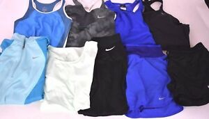 Women's Small Nike Dry Fit Athletic Running Lot of 9 - 1 Jacket 5 Shirts 3 Pant