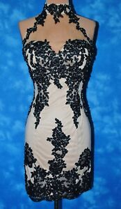 Beautiful Sz XS BlackNude Lace Formal Prom Pageant Evening Gown Cocktail Dress