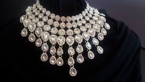 NEW Rhinestone BLING Bib Necklace STATEMENT Bride Pageant Drag FREE Shp WOW BEST