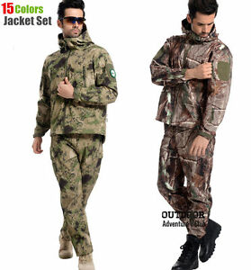 Tactical Gear Softshell Camouflage Jacket and Pant for Men Army Waterproof Warm