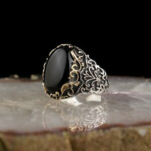 TURKISH HANDMADE 925 STERLING SILVER JEWELRY BLACK ONYX MEN'S RING