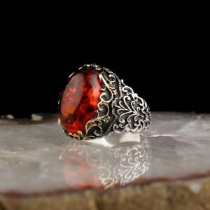 ELEGANT !!! TURKISH HANDMADE 925 STERLING SILVER JEWELRY AMBER MEN'S RING