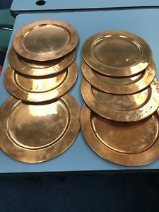 Vintage 11in Copper Charger Plates-set Of 8