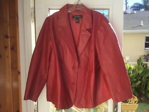 Red leather jacket coat Lane Bryant size 2224 worn once