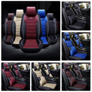11PCS PU Leather Car Seat Cover Headrest+Protector Full Set 5-Seat