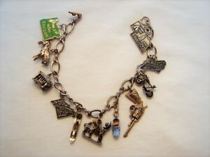 Sterling Silver Charm Bracelet 11 Charms Working Bycicle Gun Can Opener + More