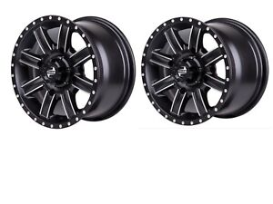 TWO - 4156 Tusk Cascade Wheels 12x7 4.0 + 3.0 Black 185-276-0003 Polaris Yamaha