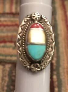 Vintage Turquoise Mop And Coral Ring Size 8