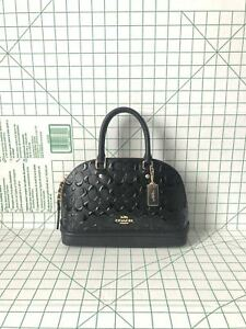 Coach F27597 Mini Sierra Signature Patent Leather Satchel Crossbody Bag Black