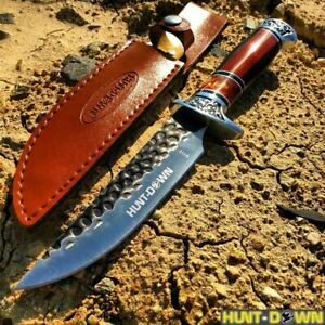 NEW 12 COMBAT Hunt Down Fixed Blade Knife with engraved Handle Hunting Survival