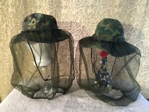 Vintage Pair of Camouflage Tropical Combat Hat Type II Highland Lowland Vietnam