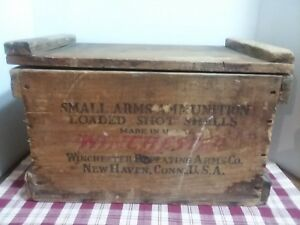 Vintage Winchester Repeating Arms Wood Box Small Arms Ammunition Shot Shells