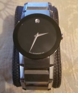 Men's Movado SAPPHIRE CRYSTAL Black Dial Stainless Steel Bracelet Watch