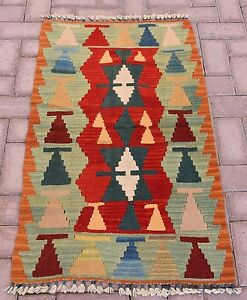 Turkish Nomad Tribal Oriental Hand-knotted Kilim Vintage Home Wool Rug 2x3.6 ft.