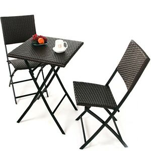 Bistro Set Patio Rattan Outdoor Furniture Weather Resistant Foldable Table Chair
